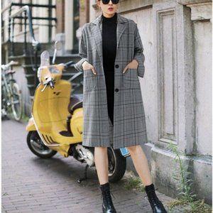 Kasper Pea Coat Plaid Wool Jacket Long Gray Lined Winter Warm Women's Plus 18W